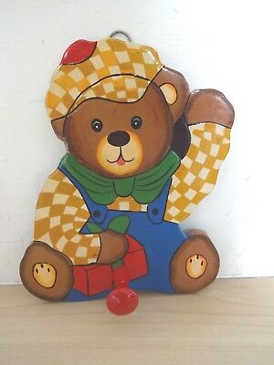 Hand Painted Coat Hook Wall Hook Storage Teddy Bear Door Hanger Nursery School
