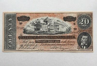 1864 Facsimile of the $20 Twenty Dollar Confederate States Currency Note