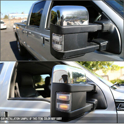 For 99-07 Ford Superduty F250-F550 Chrome Power+Heated+Turn Signal Towing Mirror