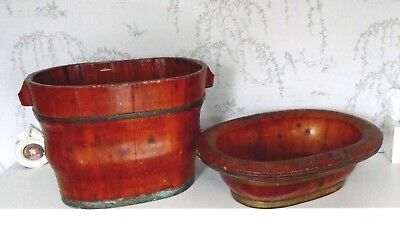 Antique Japanese rosewood ofuro/baby bath, 2 pc Brass bands, bathroom, drinks