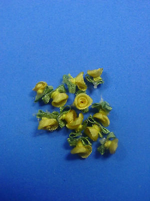 Dollhouse Miniature 1:12 Scale Hand Made 5 mm Silk Ribbon Roses Yellow #Z355
