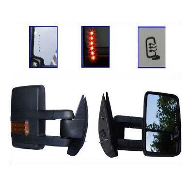 For 88-98 Chevy GMC C/K Towing Power Black Mirrors Backup  LED Signal Lamps