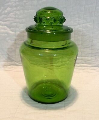 Vintage Green Glass Dakota Style Apothecary Candy Store Jar W/ Ground Glass Lid