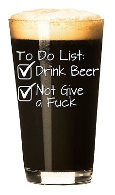 To Do List Funny Beer Glass 470ml - Unique Novelty Beer Lovers Christmas Gifts