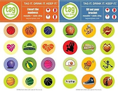 (March Madness) - Basketball (2 pack) - Champagne, Beer & Wine Glass Charms