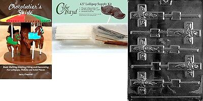 (+50 Stx/Bags/Bk) - Cybrtrayd Cross Lolly Chocolate Candy Mould with
