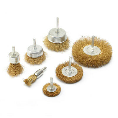 7pc Brass Wire Polishing Brush Wheel & Cup Set with 1/4'' Shank For Rotary Tool