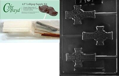 (+50 Sticks/Bags) - Cybrtrayd Celtic Cross Lolly Chocolate Candy Mould with
