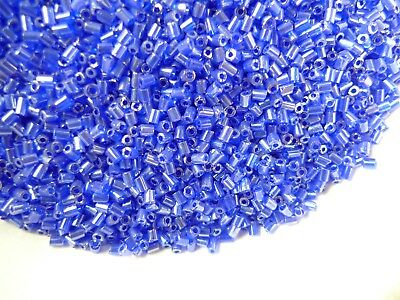 Large Lot 4 oz Small Cylinder Bugle Cobalt Blue Glass Seed Beads Czech Vintage