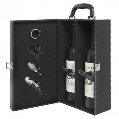 2 Bottle Modern Black Genuine Leather Top Handle Travel Wine Carrier Case w/ 4