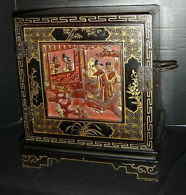 Chinese Antique Lacquer And Gold Wash Jewelry Box Cabinet Carved Figural Panels