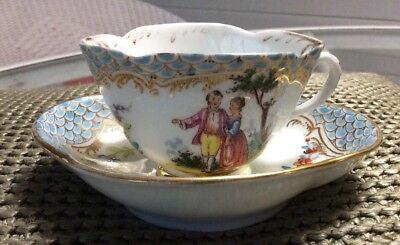 Antique German (?) Shield Mark Porcelain Demitasse Cup & Saucer Courting Couple