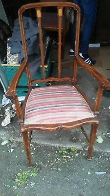 Fantastic Quality Edwardian Inlaid Carver Chair & Turned Cross Banded Legs