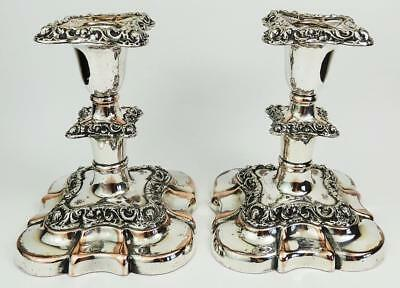 Lovely ANTIQUE 19th Century SILVER PLATE DWARF CANDLESTICKS