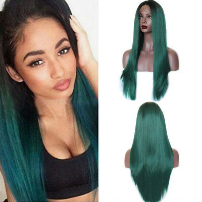 Ombre 1B/Green Long Silky Straight Lace Front Wigs Synthetic Hair Heat Resistant