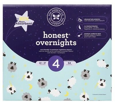 Honest Overnight Baby Diapers, Club Box, Sleepy Sheep, Size 4, 54 Count