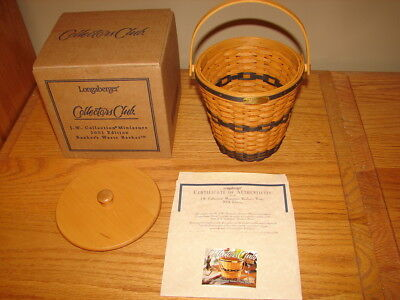Longaberger 2001 Collectors Club Miniature Bankers Waste Basket Set
