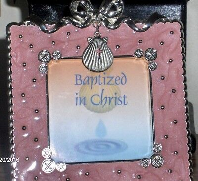 Pink & Silver Baby Girl Baptism Photo Frame 4 1/2 X 4 1/2...Photo 2 1/2 X 2 1/2