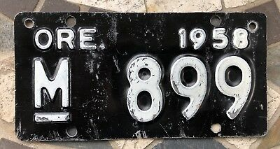 "1958 Oregon Motorcycle License Plate ""VERY GOOD"" Condition # 899 Harley Indian"