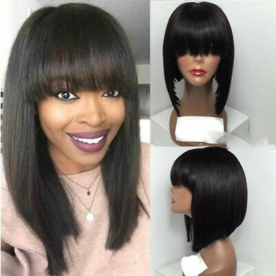 f0581e612a 100% Indian Human Hair Full Wig Natural Straight Bob Wigs With Bangs Black  RST