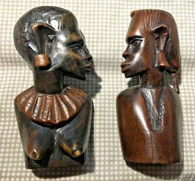 Vintage & Estate Wooden Carving Lady Collar Man Couple Set Dark Heavy Tribal Pie