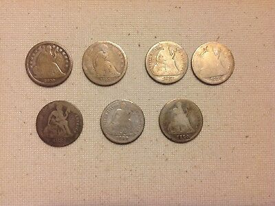 Liberty Seated Dime lot!!!  Seven (7) total.  One keydate!!!