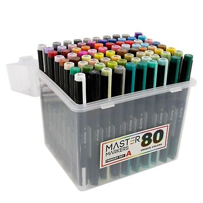 80 Colour Master Markers Primary Tones Dual Tips, Set A - Double-Ended Art