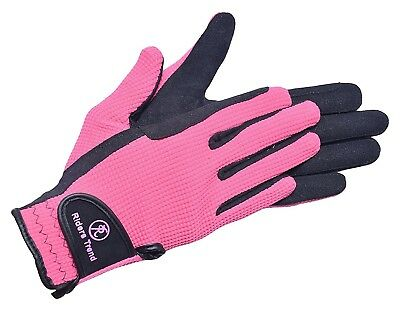 (Small, Black / Pink) - Riders Trend Amara/Cotton Horse Equestrian Riding Gloves