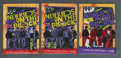 (3) 1989 Topps NEW KIDS ON THE BLOCK trading card cello packs - 15 cards p/ pack