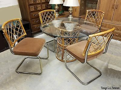 Unique Vintage Mid Century Modern Dining Room Table & Rattan Chairs 1981