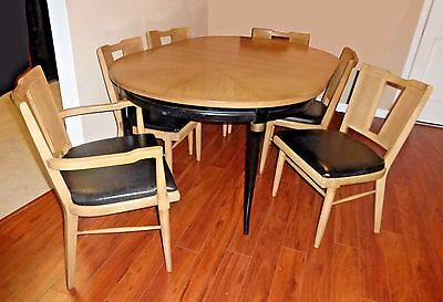 Vintage Mid Century Modern SIX DINING ROOM CANE CHAIRS by American Furniture Co