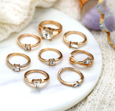 Womens Gold Silver Plated Vintage Boho Punk Joint Knuckle Ring Set Crystal Rings