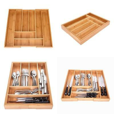 Bamboo Multi Purpose Expandable Utensil Cutlery Tray Kitchen Drawer Organizer Us