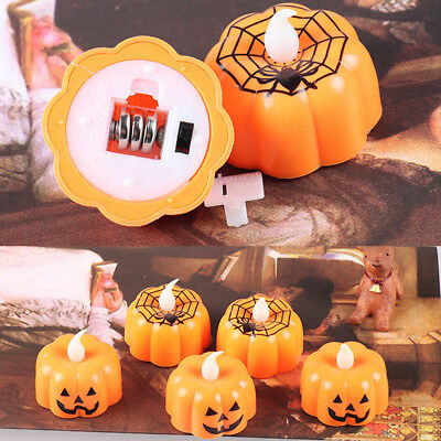 Halloween Mini LED Candle Pumpkin Night Light Plastic Party Home Garden Decor