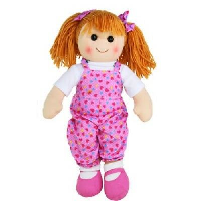 Brand New Hopscotch Childs Toy Rag doll soft body ragdoll Summer Pink Overalls