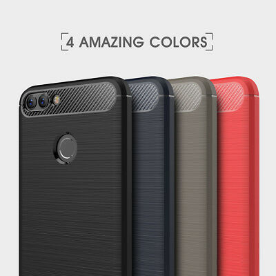 For Huawei P Smart Y5/Y6 2018 Case Carbon Fiber Rubber Thin Silicone Back Cover