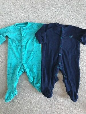 Two Next Baby Boy Sleep Suits Worn Once Navy Blue And Green Age 3-6 Months