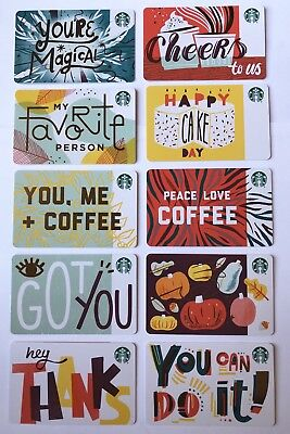 Starbucks Card 2018 10 Recycled Paper Fall Gift Card Set Lot