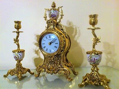 French Rococo Style Gilt & Porcelain Mantel Clock Garniture.