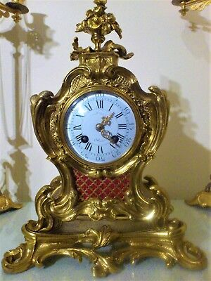 Antique French Ormolu Bronze Rococo Style Mantel Clock.