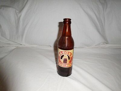 Vintage Mason`s Old Fashioned Root Beer Soda Bottle Chicago ILL Amber