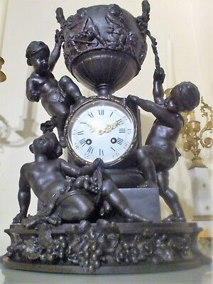 Large Antique French Bronzed Metal Figural Mantel Clock.