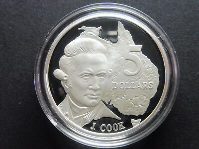 1993 $5 Captain Cook 1oz Silver Proof Coin Ex Masterpieces of Silver