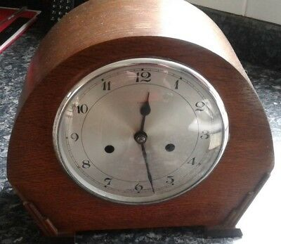 Wooden Cased Mantel Chiming Clock
