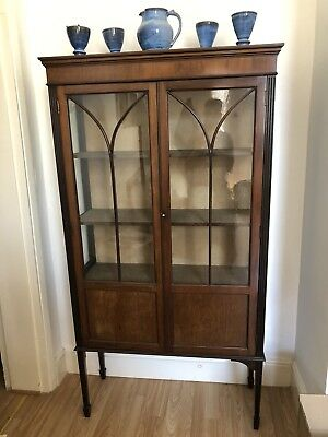 Antique Mahogany Locking Glass Fronted & Side Display Cabinet Case - Edwardian