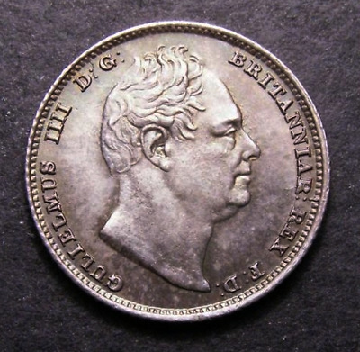 1834 UNC William IV IIII Great Britain Silver Sixpence Coin CGS 78, MS63-64