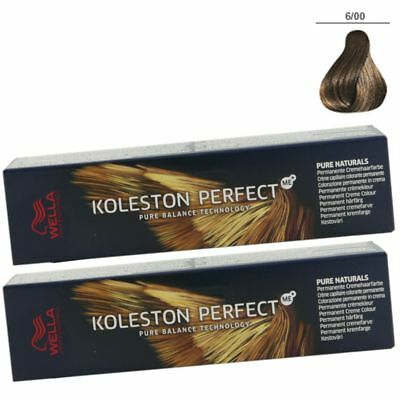 2 x Wella Koleston Perfect ME Pure Naturals 60 ml Set - 6/00 dunkelblond natur