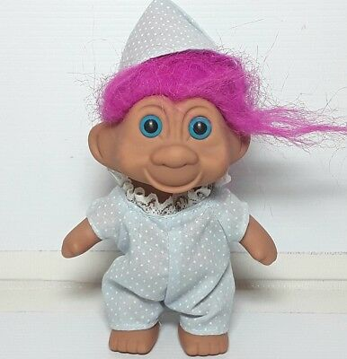 Troll doll figure  toy figurine Purple hair Pyjamas Vintage 1990s