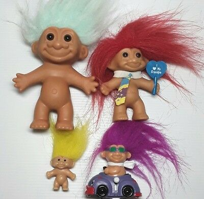 Russ Troll doll figure toy Wind up car Blue Red Purple hair Vintage 1990s Bulk
