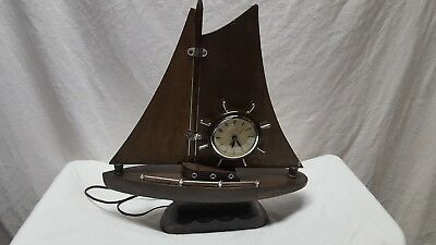 Rare Vintage United Self Starting Wooden Ship Clock with Wood Sail  - Nautical